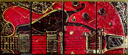 Red Guitar w/22kt Gold leaf