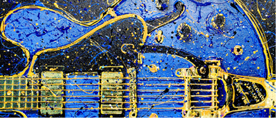 Blue Guitar w/ 22kt Gold leaf